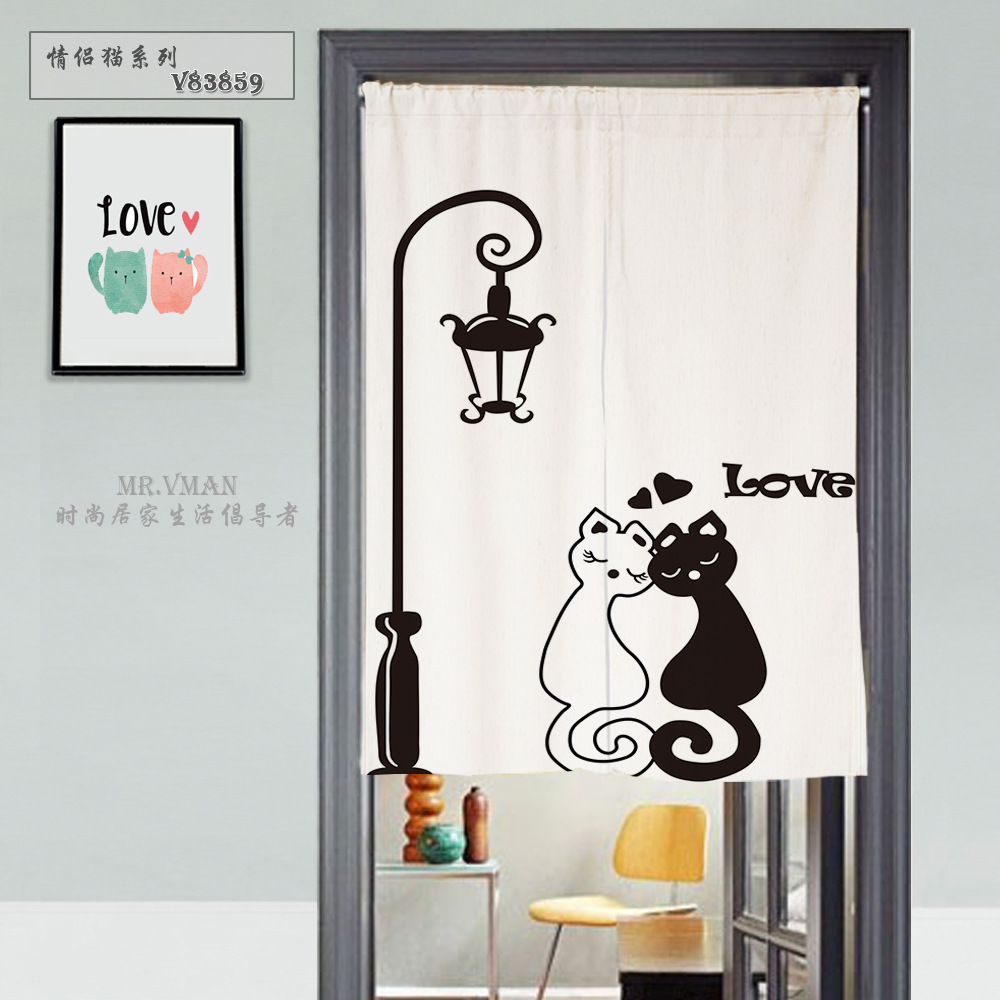 Iron curtain cartoon - Japanese Door Curtain Canvas Cartoon Cat Printed Short Curtains For Living Room Creative Kitchen Door Curtains