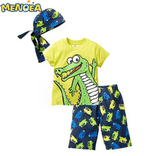 baby boys clothes 2017 summer style beach cartoon images casual sport suit 3 sets hat + T shirt + pants baby boys clothes set
