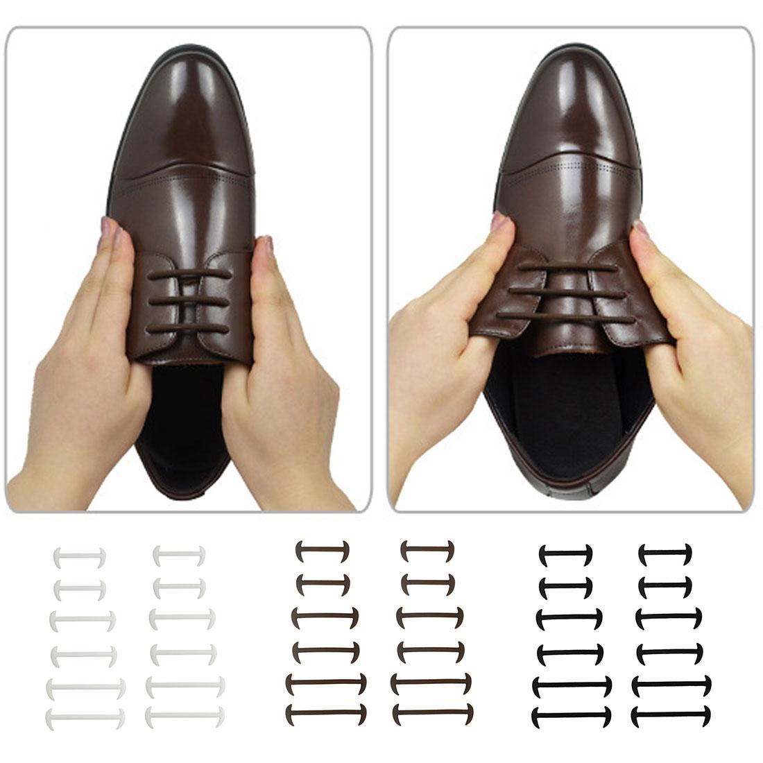 12x No Tie Elastic Kids Adults Shoe Laces Oxford Round Dress Shoelaces Cord