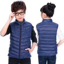 Children Down Cotton Vests & Waistcoats Boys Girls Autumn and Winter New Simple Solid Waistcoats Boy Sports Vest Waistcoat