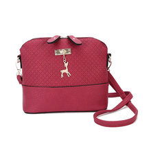 Fashion Women Mini Messenger Bag PU Leather Shell Shape Bag Crossbody Shoulder Bags With Deer Toy Popular