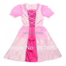 Party Cosplay Costume Supplier Cute Little Girl Christmas Pink Cinderella Skirt Princess Halloween Costumes fancy dress(China)