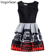Vogorsean Women 2017 New Summer Sleeveless Dresses For Work Style Elegant Knee-Length Floral Print Party O-Neck Casual Dress