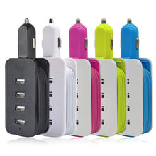 Universal  adaptive rapid car charger 4 Way Multi USB cabled socket for smart phones tablets pad