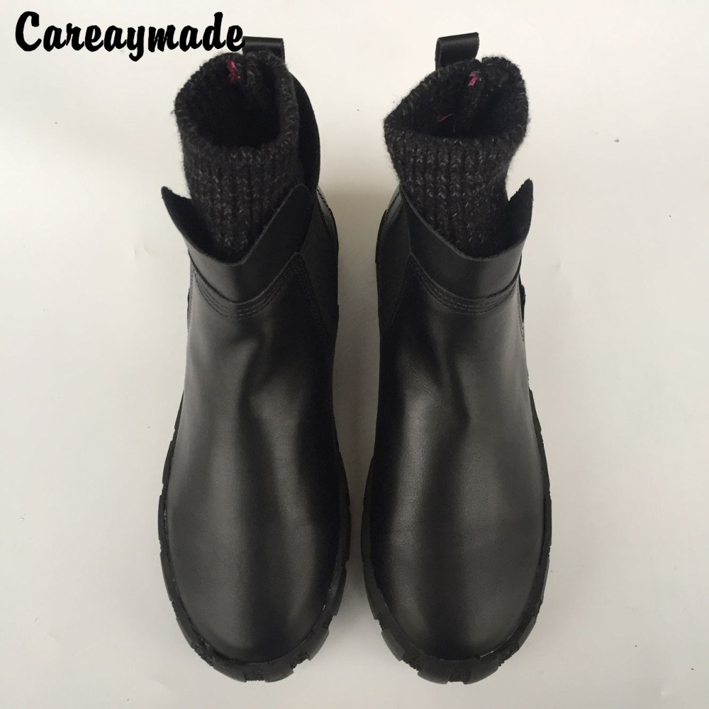 Careaymade-female winter ankle boots, 2017 new European styles PU retro Martin boots, womens warm comfort flat snow boots<br>
