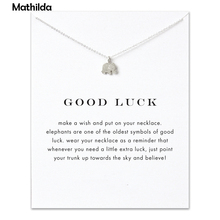 Hot Sale Sparkling Good Luck Elephant Necklace Silver Short Necklace Clavicle Statement Necklace( With Card ) D071