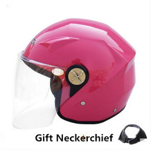 pink Motorcycle Helmet Male Female Four Seasons capacete para motocicleta cascos para moto Double Lens RACING HALF HELMETS(China)