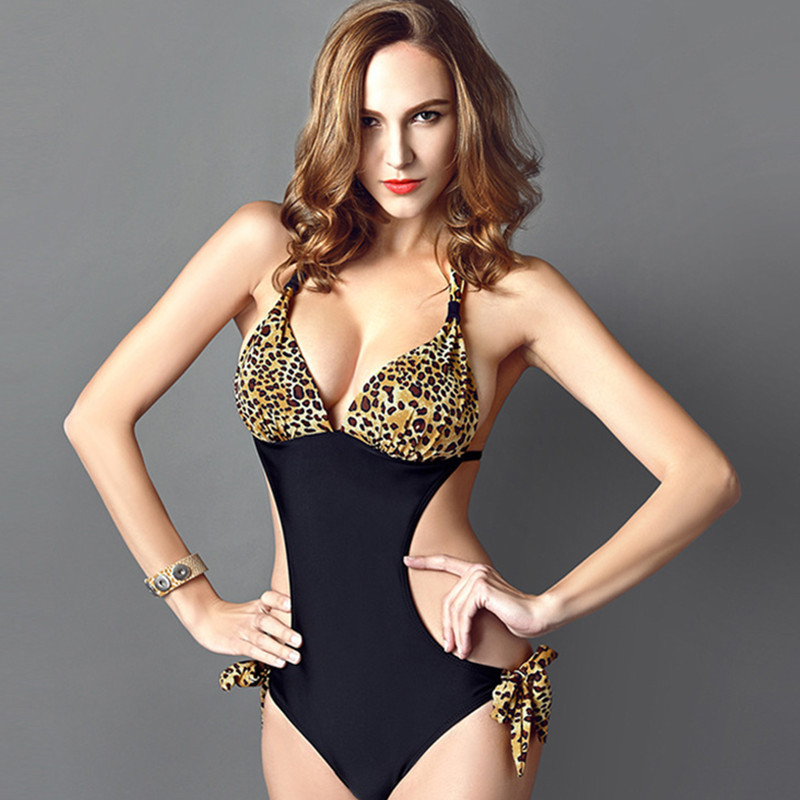 Quality elasticity swimwear one piece women bathing suits padded monokini sexy backless strappy dot bikinis swimsuit backless<br>