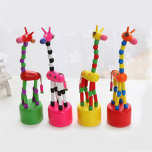 Helen115 Baby Funny Wooden Toys Developmental Dancing Standing Giraffe Toys Multi Color(China)