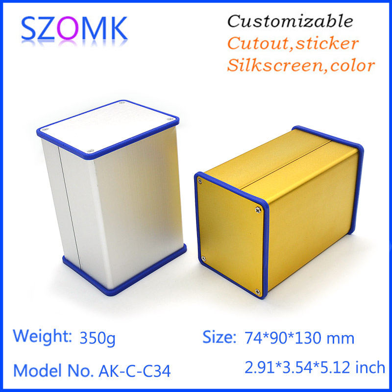 1 pc, szomk silvery aluminum extrusion case with silicone seals anodizing distribution enclosure 74*90*130mm aluminum enclosure<br><br>Aliexpress
