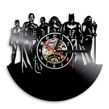 1Piece Vintage Vinyl Clock Team Of Super Heroes Justice League Wall Clock Comics Super Hero Vinyl Record Clock Wall Art Decor