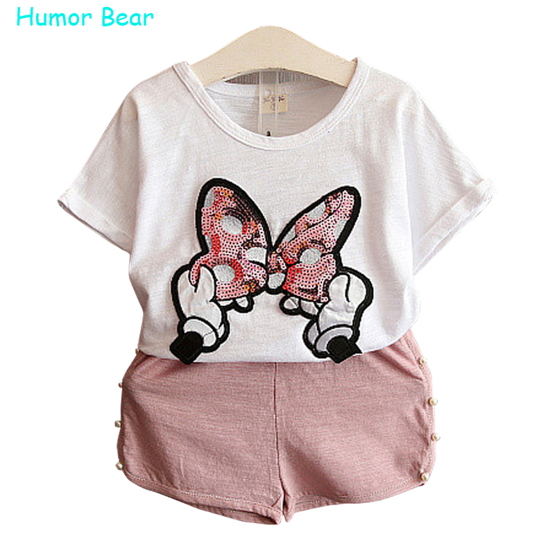 Humor Bear baby girls clothes kids set fashion Bow short sleeve T-shirt +pant Baby girls clothing set kids cartoon clothes set<br><br>Aliexpress