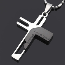 ATGO Christmas Gift Mens Jewelry Love you Jesus Cross Pendants, High Quality Women 316L Stainless Steel Pendant Necklace BP701(China)