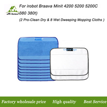 Microfiber 8pcs Wet & 2pcs Dry Dweeping Pro-Clean Mopping Cleaning Cloths for Robot irobot Braava Minit 4200 5200 5200C 380 380t
