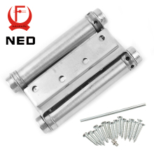 2PCS NED-5107 4 Inch Double Action Spring Door Hinge Stainless Steel Rebound Hinge For Cafe Swing Western Furniture Hardware(China)