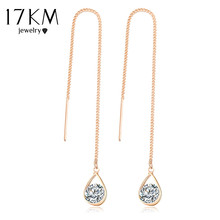 17KM Crystal Water Drop Earrings for Women Wedding Punk Star Moon Gold Color Long Tassel Dangle Bar Statement Jewelry(China)