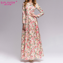 S.FLAVOR Women Bohemian style long dress Hot sale Elegant autumn winter dress Women casual printing vestidos Russian style dress(China)