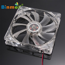 Hot-sale BINMER 120 x 120 x 25mm 4 Pin Computer Fan Red Quad 4-LED Light Neon Clear 120mm PC Computer Case Cooling Fan Mod