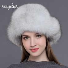 Magelier Women's Fur Hats Natural Raccoon and Fox Fur Russian Ushanka Winter Warm Ears Fashion Bomber Caps New Arrival MZ009(China)