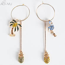 AOMU Crystal Rhinestone Pineapple Long Earrings For Women Asymmetry Flamingo Coconut Tree Pendientes for Women Beach Accessories