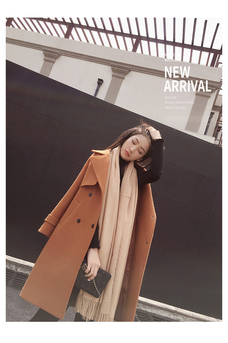 Mishow 19 autumn and winter woolen coat female Mid-Long New Korean temperament women's popular woolen coat MX17D9636 34