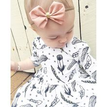 Retail 2016 New Summer Baby Girl Clothes White Feather Pattern Cotton Half Sleeve Knee Length Dress Toddler Girl Clothing(China)