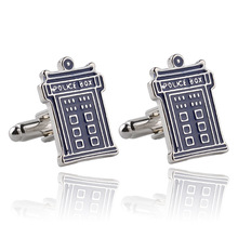 New Fashion Jewellery Blue Telephone Booth Cufflink For Men Classic Movie Jewelry High Quality Male French shirt Metal cufflinks(China)