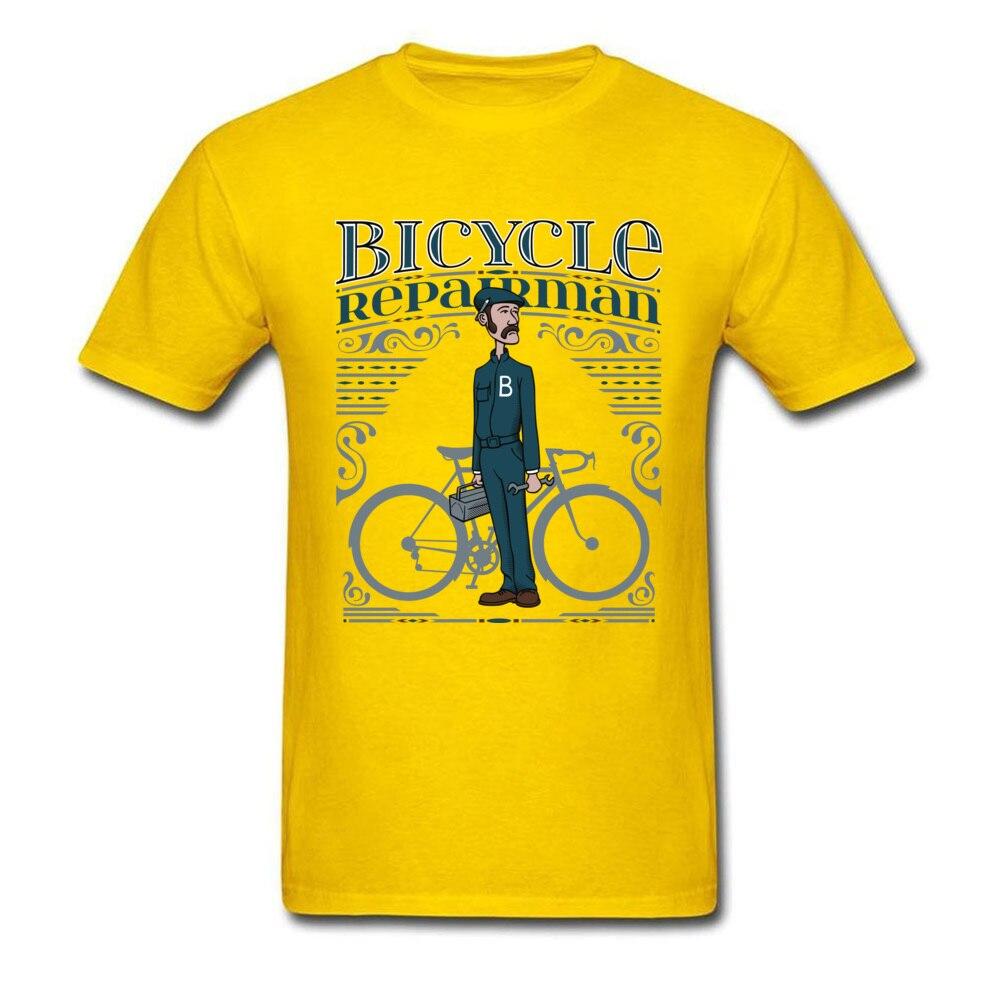 Bicycle Repairman T Shirts Custom Short Sleeve Cheap O-Neck 100% Cotton Tops Shirts Casual T Shirts for Men Mother Day Bicycle Repairman yellow