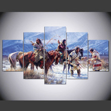 5 Pieces Native American Indian Snow Mountain Modern Home Wall Decor Canvas Picture Art On Canvas ny-851