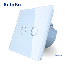 RainBo Brand New Crystal Glass Panel wall switch EU Standard 110~250V Touch Switch Screen Wall Light Switch 2gang1way A1921CW/B(China)