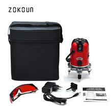 EU plug cloth bag ZOKOUN 360 degrees rotary tilt slash functional 5 lines 6 points outdoor mode cross line laser leveler(China)