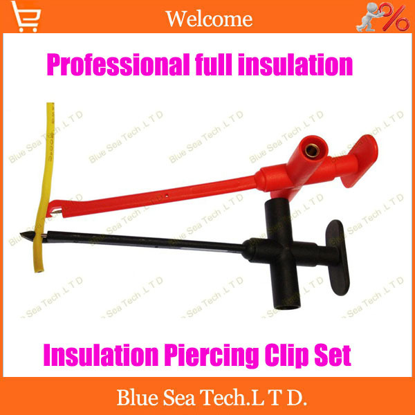 Free Shipping 2 sets Professional full insulation quick test hook with 4mm banana plug,Insulation Piercing Clip Set kit<br><br>Aliexpress