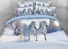 WARM TOUR White Duvet Cover Sets Full Size 4 Piece Luxury Galloping Horse Print Bedding Soft 3D Bedding Sets King/Queen/Twin(China)
