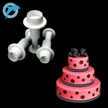 LINSBAYWU 3PCS Round Circle Fondant Cake Mold Cookie Paste Plunger Cutter Decorating Mould