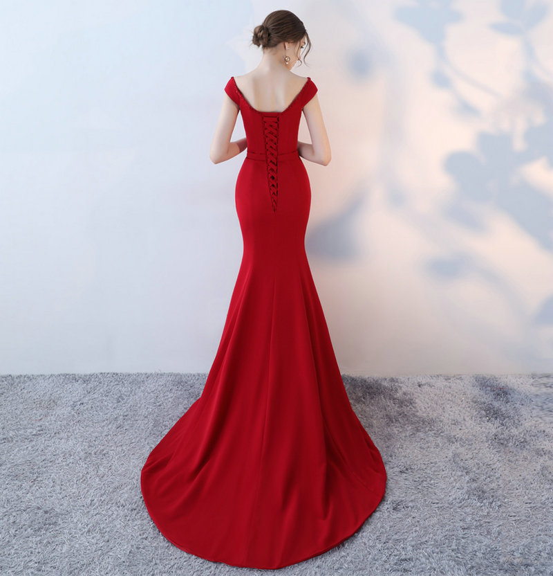 Elegant Burgund Mermaid Bridesmaid Dresses 2018 New Sexy Bridesmaid Dress Long V-Neck Elastic Satin Crystal wedding Party Gowns 2