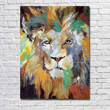 Free Shipping For Sell Wholesale Hand-painted Lion king Oil Painting On Canvas For Home Decoration Animal Pictures no Framed(China)