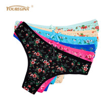 Buy YOUREGINA Ladies Underwear Women Cotton Floral Print G String Sexy Thongs Bikini Panties Tangas Lingerie Women 6pcs/lot