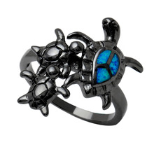 three tortoise Ring Black Gold Color Jewelry blue turtle fire opal Rings For Women wholesale Turtle mom children son girl rings(China)