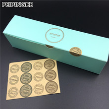 Free shipping 12pcs gold stamp macaron packaging box cake biscuit cookies boxes Wedding Decoration With Stickers(China)