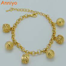 Buy Anniyo 18cm + 5cm Round Beads Bracelet Gold Color Trendy Ball Bangle Women Fashion Arab/Africa/Ethiopian Gift #020706 for $3.89 in AliExpress store