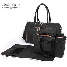 YD6638 3pcs Miss Lulu Baby Diaper Nappy Changing Bag Set PU Leather Mummy Maternity Shoulder Handbag Black Stroller Bags