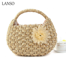 New Small Totes Bags Girl's Summer Handmade Woven Straw Bag Rattan Women Handbag Cute Beach Handle Bag Casual Ladies Flowers Bag