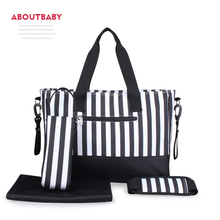 Aboutbaby Stripe Diaper Bag Set Mummy Bag Baby Stuff Baby Bags Wetbag with Changing Station Organizer for Baby Stroller Buggy
