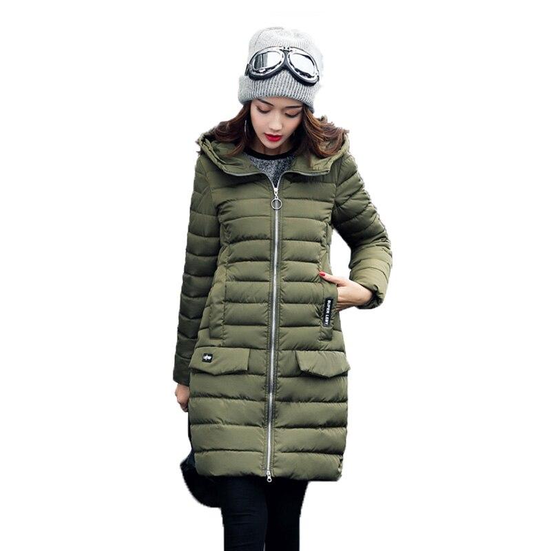 Women Elegant Coats Hooded Zippers 2017 New Autumn Winter Jackets Parkas Femme Medium-Long Solid Wide-waisted Standard FashionÎäåæäà è àêñåññóàðû<br><br>