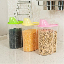 2.5L/1.9L Kitchen Storage Organizer Grain Storage Container Rice Holder Box Cereal Bean Container Sealed Box with Measuring Cup