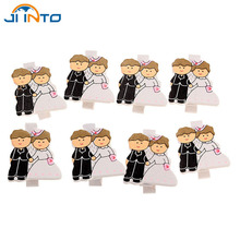 8Pcs/Pack Mini Wooden Clothes Bride and groom Photo Paper Peg Pin Clothespin Craft Postcard Clips Home wedding Decoration(China)