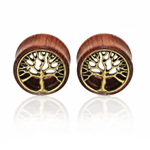1 Pair Tree of Life Wood Expanders Piercing Fashion Ear Plug Flesh Tunnels Gauge Stretcher to Ear Saddle Body Jewelry(China)