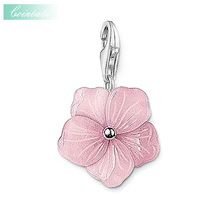 Pendant Charm Pink Flowers 2017 New 925 Sterling Silver Women Fashion Trendy Gift Thomas Jewelry Fit Ts Necklace