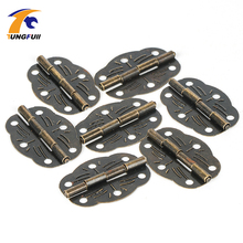 Fast Shipping 50pcs antique hinge metal printing small wooden gift box hinge 6 small holes box hinge 30*22mm