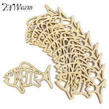 DIY 10Pcs/Set Lovely Animal Fish Shapes Wooden Ornaments Carving Laser Wood for Scrapbooking Card Wall Hanging Craft Decor(China)